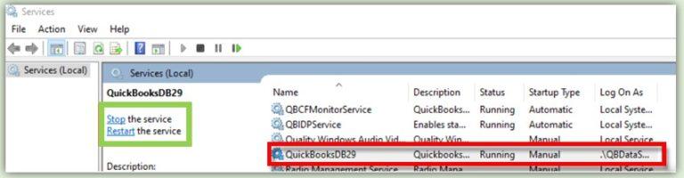 Restart QuickBooks Database Services