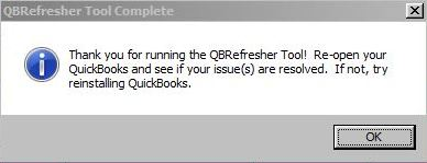Thank you for running QBRefresher Tool!