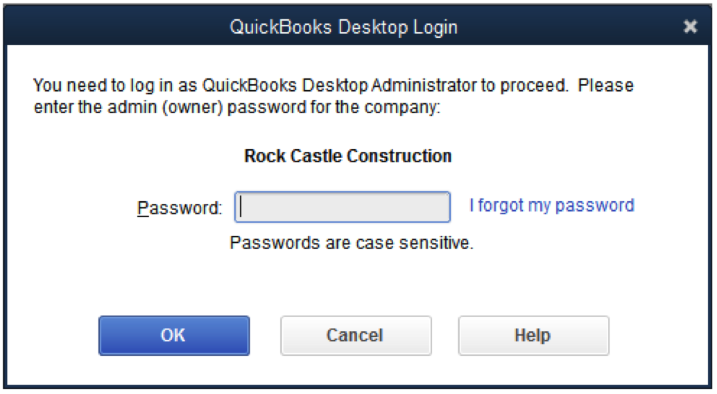 Reset QB Admin Password if you enter password only while signing in