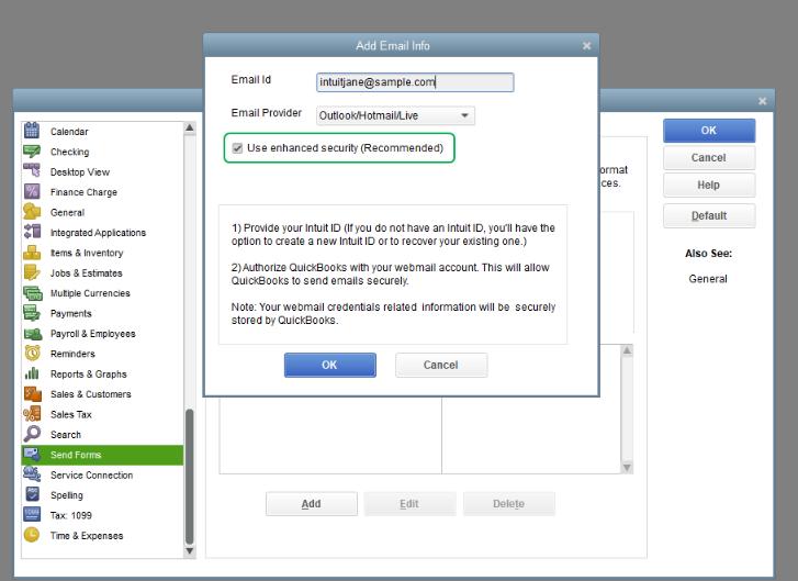 Configure Secure Webmail IN QB Desktop
