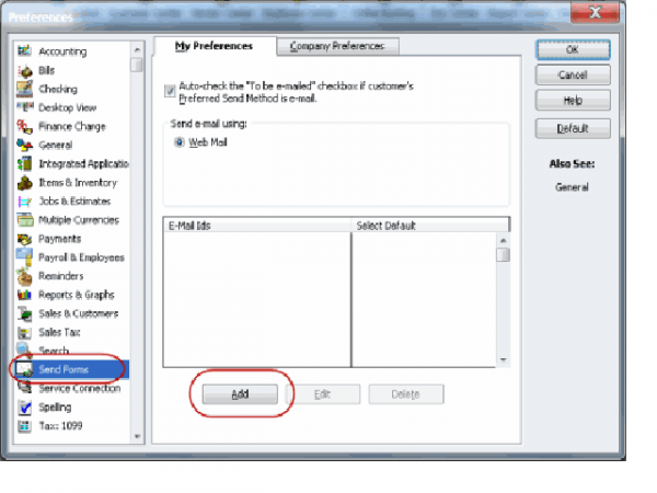 Click Add to Setup webmail in QB