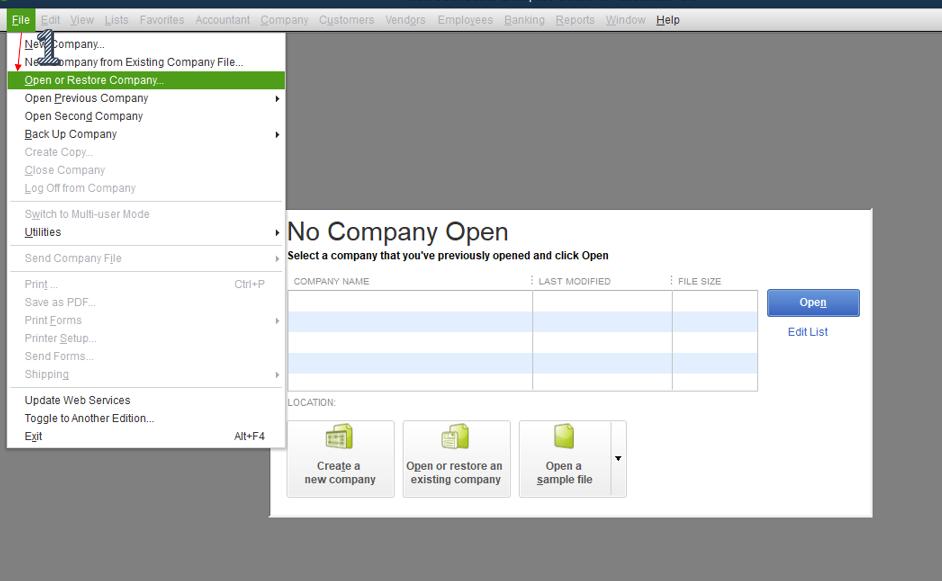 Open Or Restore Company File