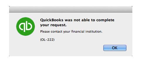QuickBooks desktop error OL-222 Message