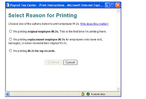 printing original employee W-2s