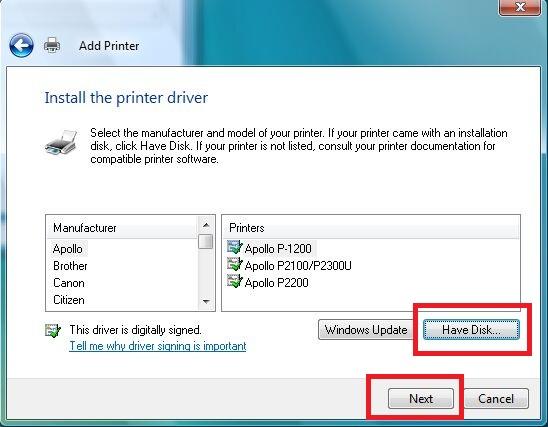 Install Printer Driver window