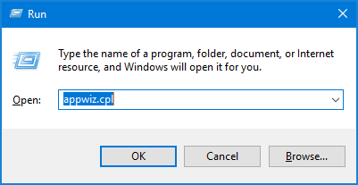 Write the command appwiz.cpl
