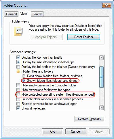 Open Organize, click Folder & then Search Option
