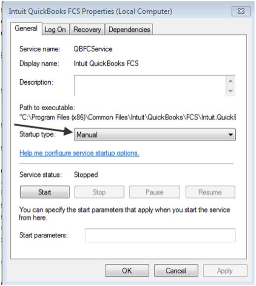 Open Intuit QuickBooks FCS Properties