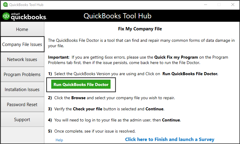 Download the QuickBooks File Doctor