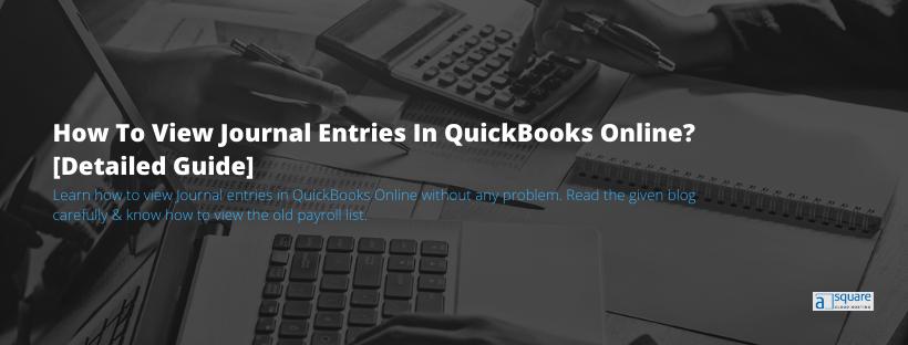 View Journal entries in Quickbooks Online